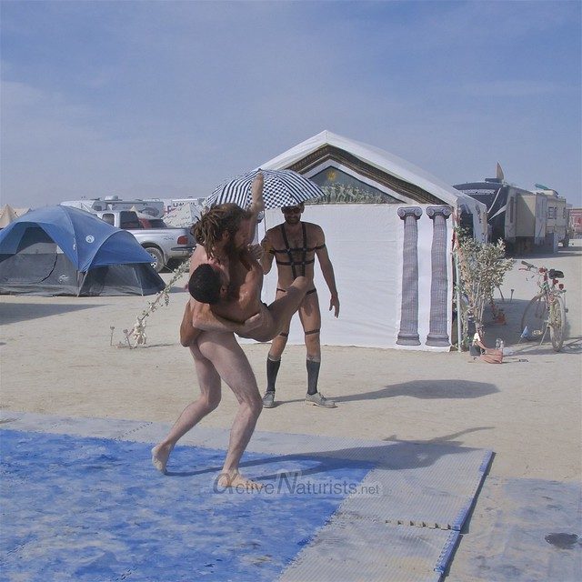 naturist wrestling camp Gymnasium 0020 Burning Man, Black Rock City, NV, USA