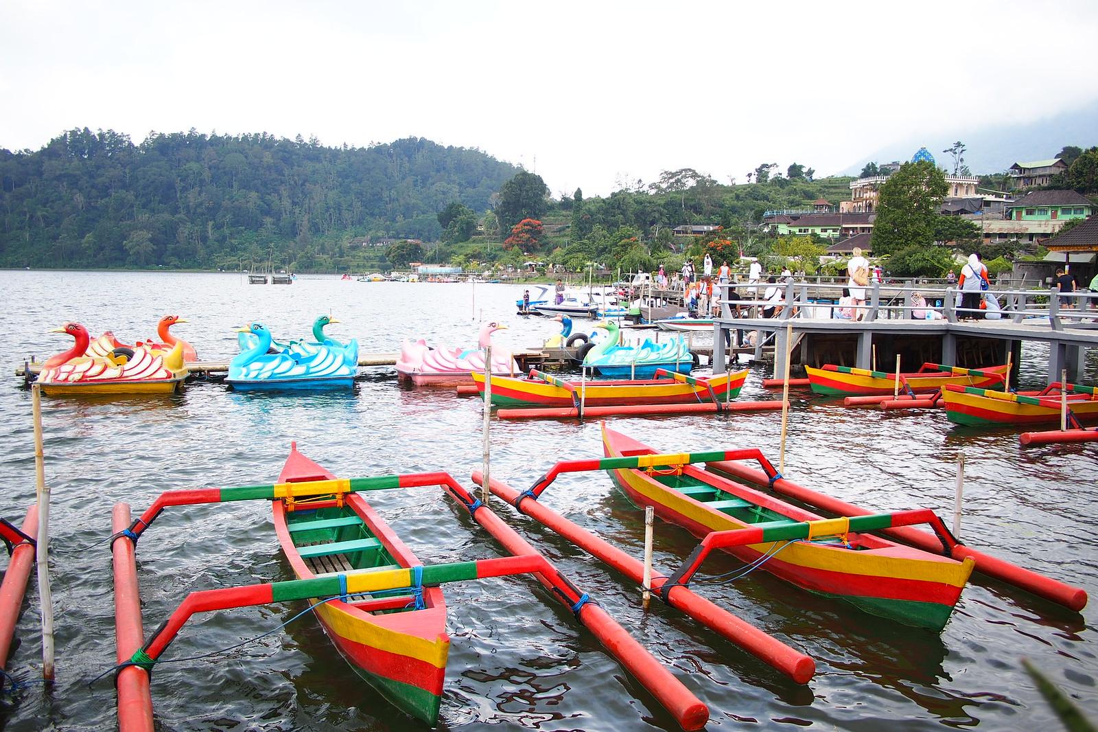 Traditional boats for the festival at Pura Ulun Danu Beratan in Bali