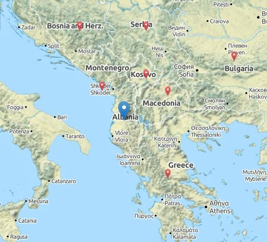 Albánsko - mapa