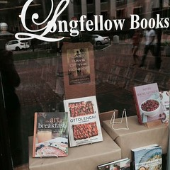 My cookbook has a front window seat! #portland #maine #bookstores #local #longfellowbooks #cookbooks #artofbreakfast