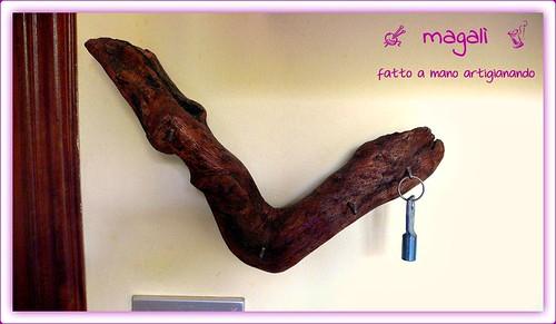 portachiavi da parete in legno rustico