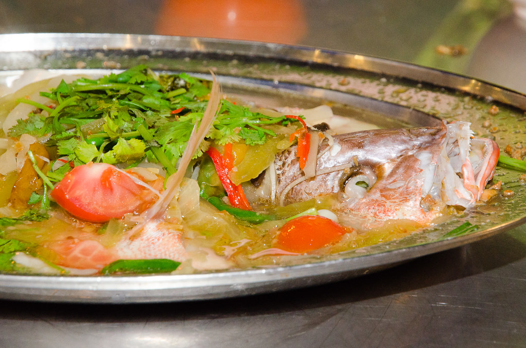 Sweet and Sour Steamed fish at Tsunami Village Cafe