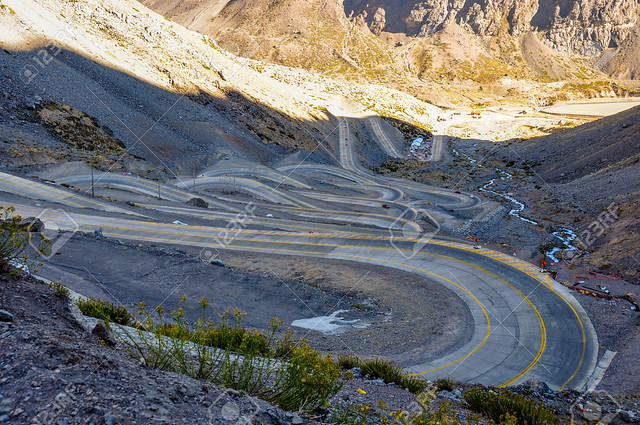 Paso de los Libertadores, Winding Road at 3000 meters, between Argentina and Chile