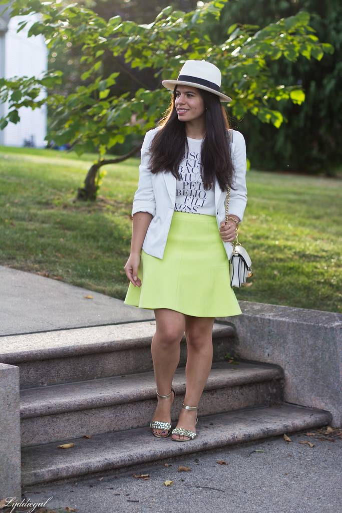 green skirt, kiss tee, white blazer, panama hat-2.jpg