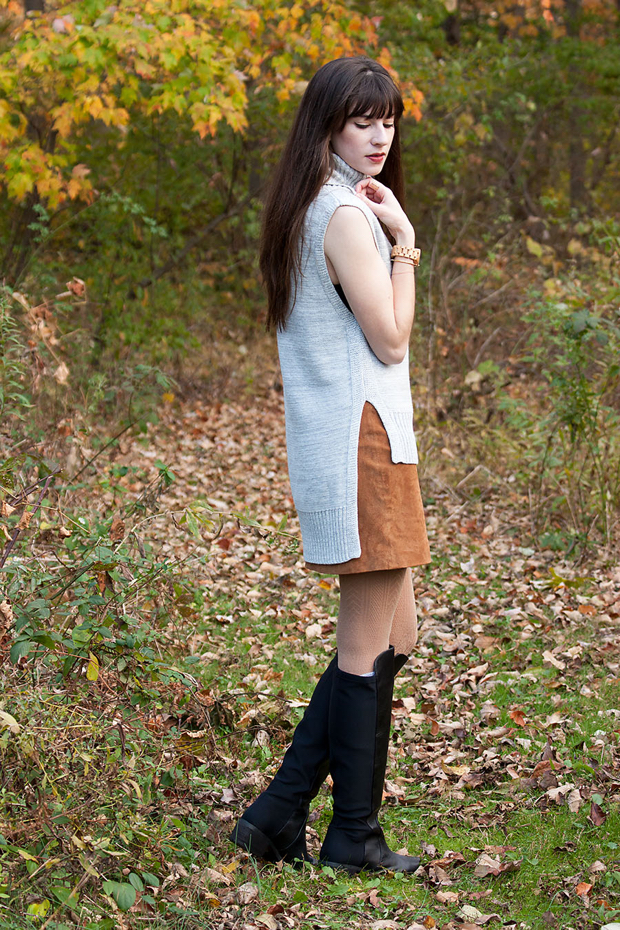 Banana Republic High Low Tunic, Suede Mini Skirt, ShoeMint Boots, Fall Style