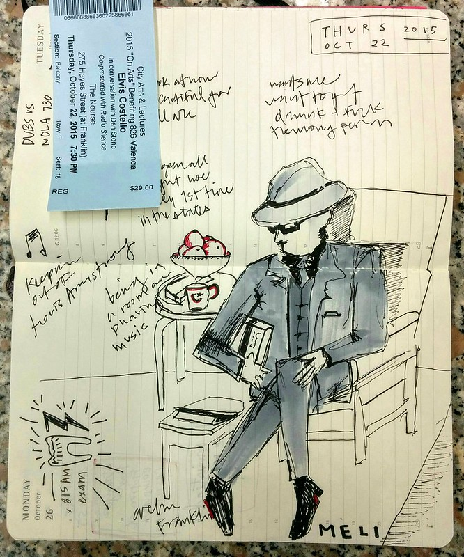 mi drawing de ElvisCostello last nite: Unfaithful Music & Disappearing Ink, at cityartssf.