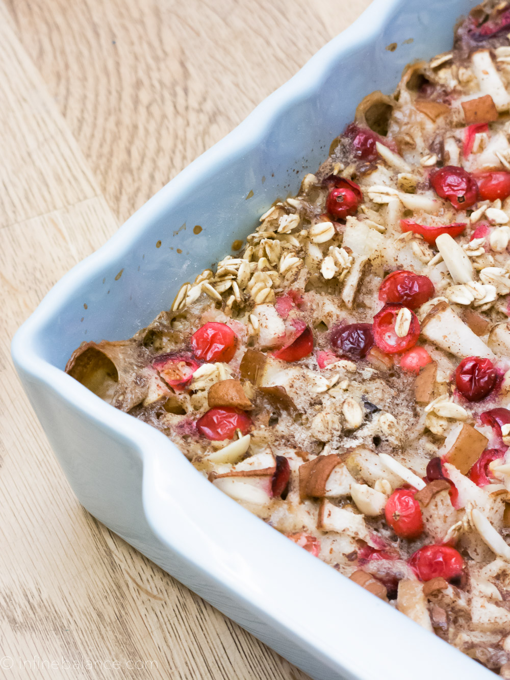 Cranberry and Pear Baked Oatmeal | the infinebalance food blog