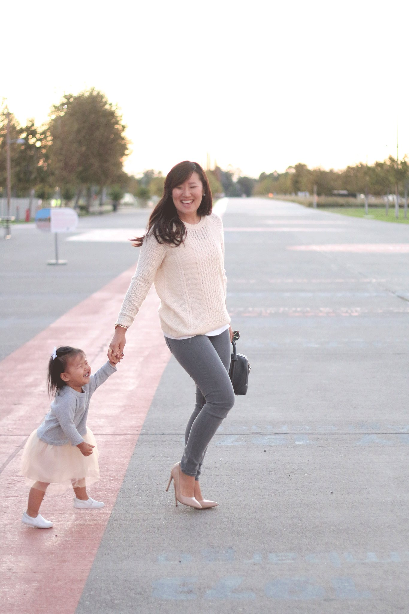simplyxclassic, grey and cream outfit, fall outfit, steve madden pumps, gap jeans, grey jeans, forever21, mommy and me style, outfit, ootd, mommy blog, blogger, fashion, orange county, lifestyle, givenchy lucrezia