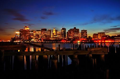 bostonskyline skyline bluehour pier sticks old pierspark bostonharbor evening newengland boston pw dusk massachusetts sunset fallingapart dilapidated water portofboston loprestipark piling pilings