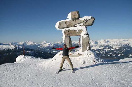 Inukshuk at Whistler Blackcomb Ski Resort, Whistler BC, British Columbia.