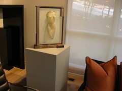 White Laminate Pedestal with Sculpture
