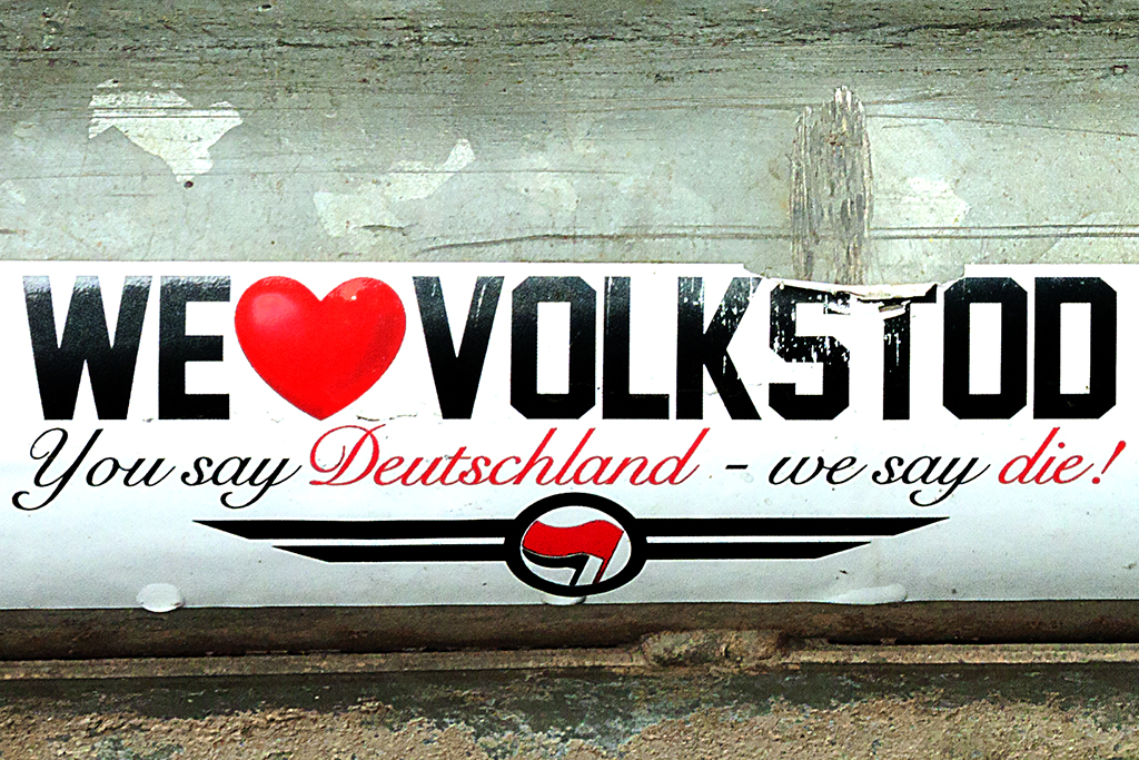 WE luv VOLKSTOD You say Deutschland we say die!--Leipzig (detail)