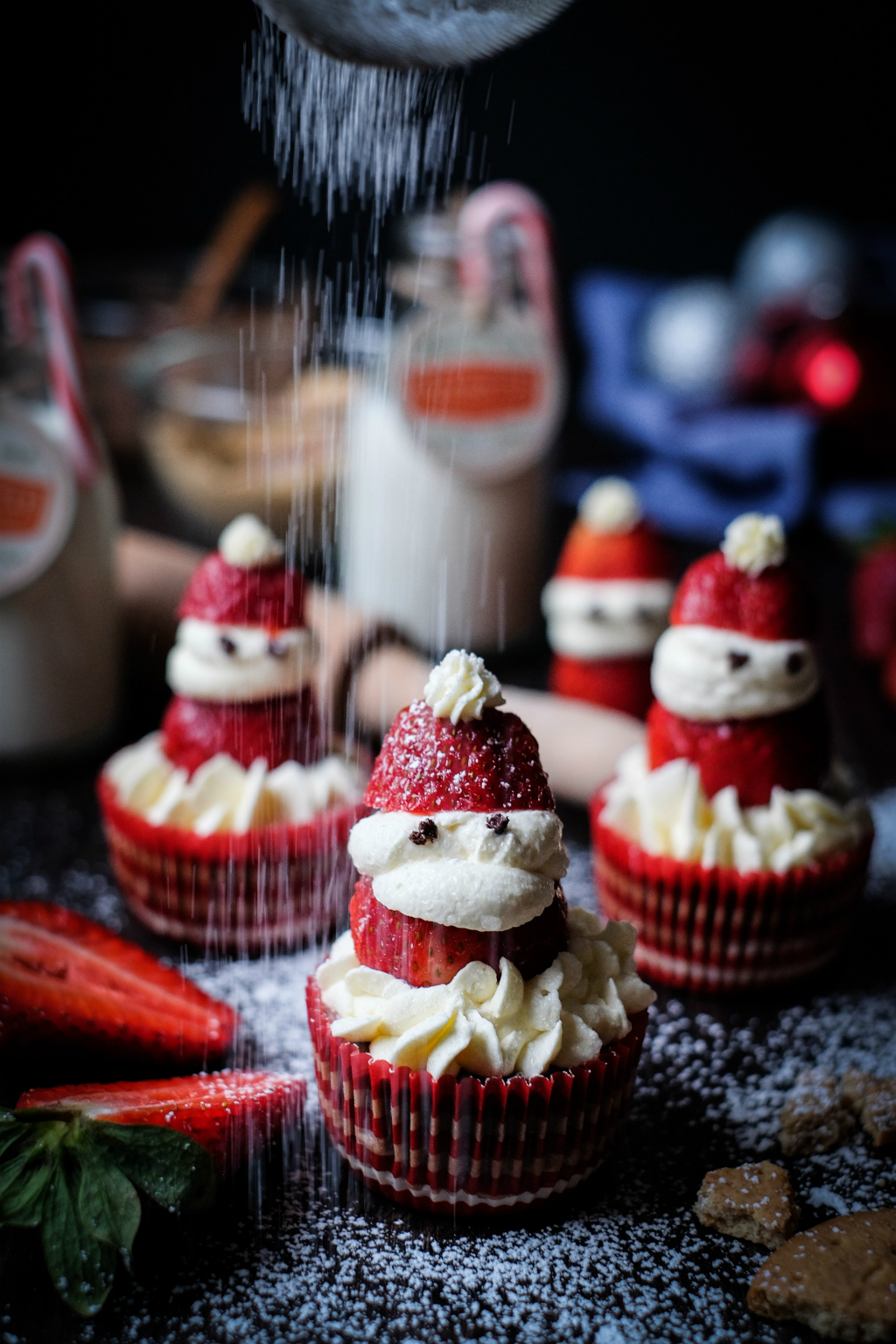 Mini Santa Cheesecake Cupcakes portrait