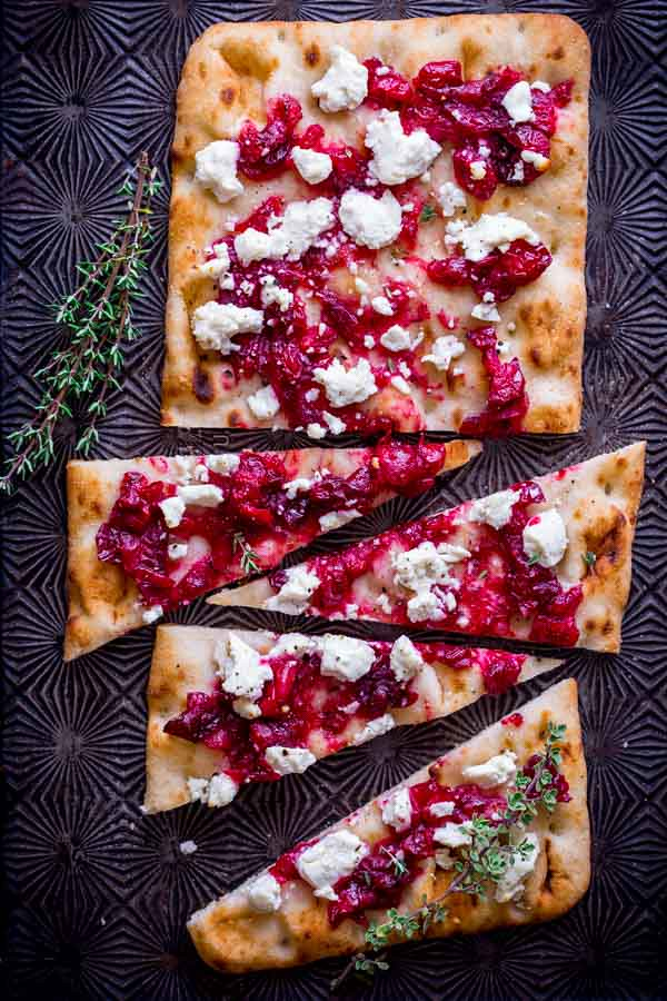 Roasted Cranberry Goat Cheese Flatbread