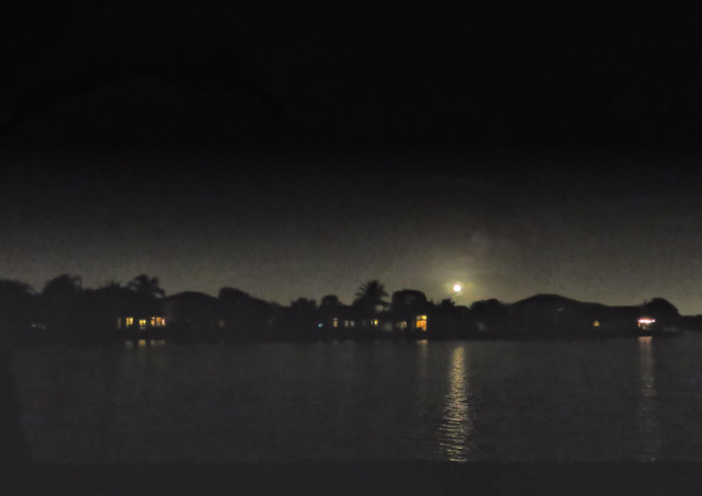 Christmas Moon over lake HDR 20151225