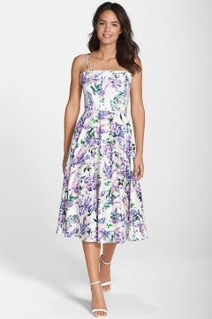 Floral Print Fit & Flare Midi Dress (Regular & Petite)