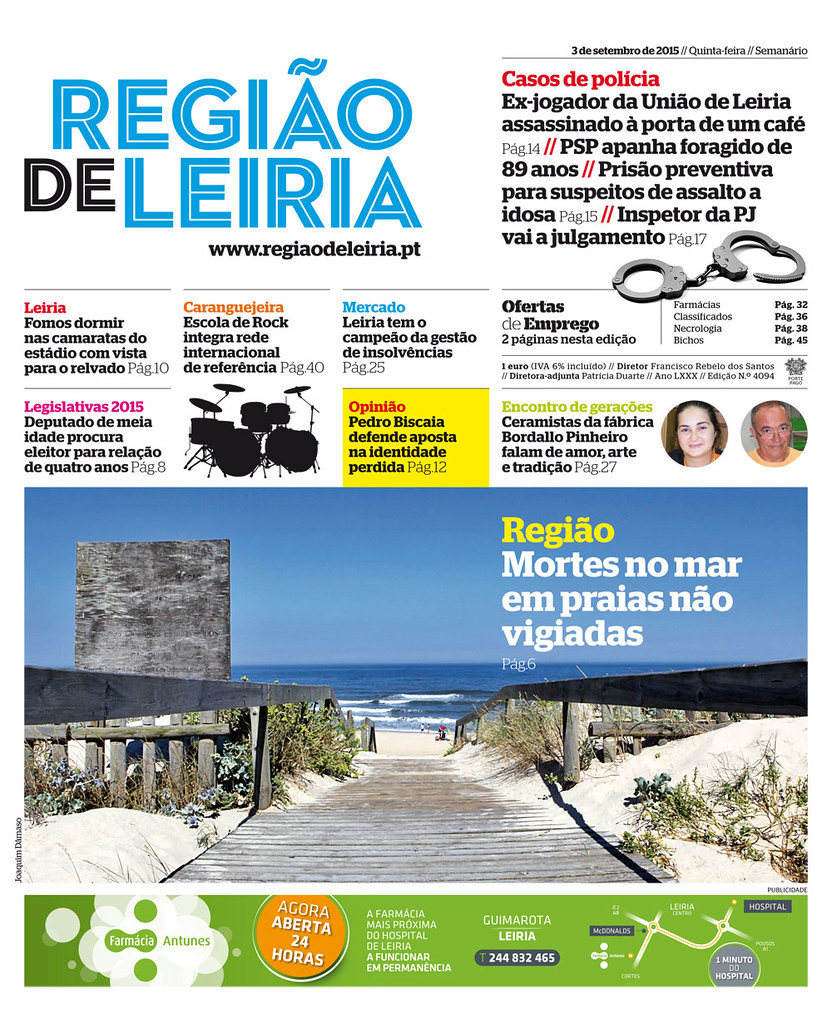 Capa Regiao de Leiria edição 4094 de 03 de setembro 2015