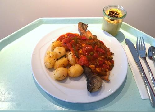 "Baked trout ""balkan style"" wit rosemary potatoes / Gebackene Forelle ""Balkan Art"" mit Rosmarinkartoffeln"