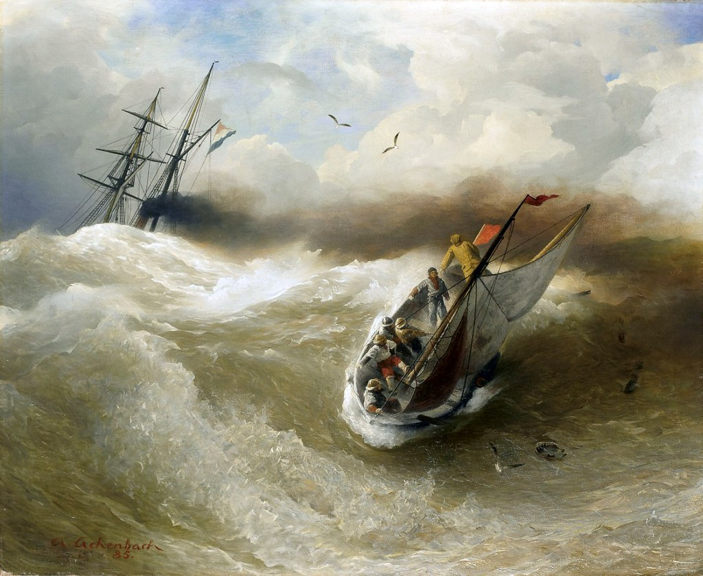 Boats in Stormy Sea by Andreas Achenbach - 1885