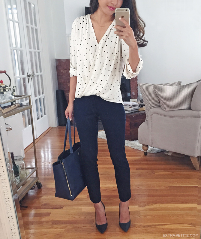 polka dot top navy pants work outfit