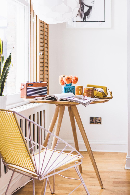 midcentury style colourful home corner room retro coffee table