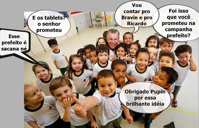 crianças estudantes prefeito pupin