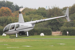 G-DWCE - 2006 build Robinson R44 Raven II, crossing Runway 08 on departure from Barton