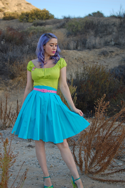 Pinup Girl Clothing Pinup Couture Peasant Top in Chartreuse Lime and Little Jun Skirt in Pale Turquoise Blue