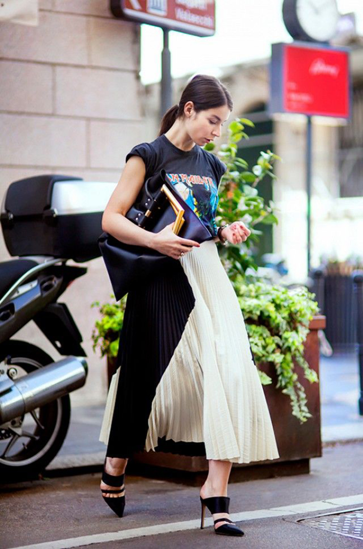 pleated skirts midi streetstyle outfit inspiration7