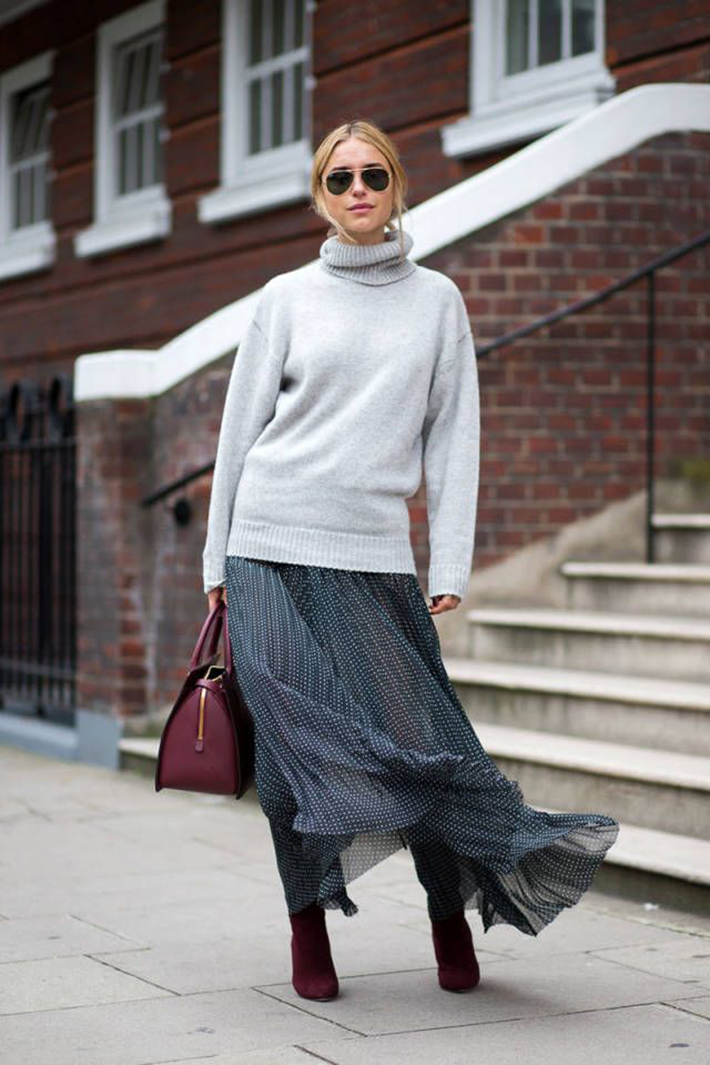 pleated skirts midi streetstyle outfit inspiration5