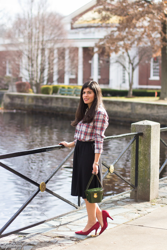 plaid shirt, pearl necklace black midi skirt, red pumps-2.jpg