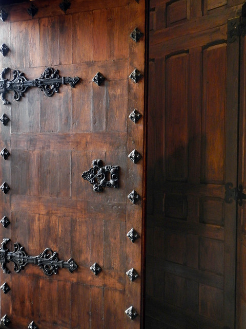 Spanish Wooden Door with Metal Decorations (Madrid)
