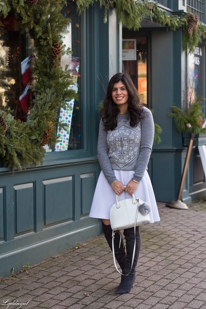 grey sweater, white skirt, over the knee boots.jpg
