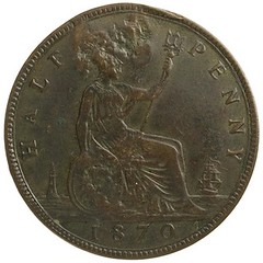 1870 London (England) Bronze 1 stampee of Declos reverse