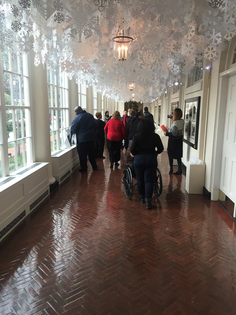 Snowflakes from ceiling on White House Christmas Tour