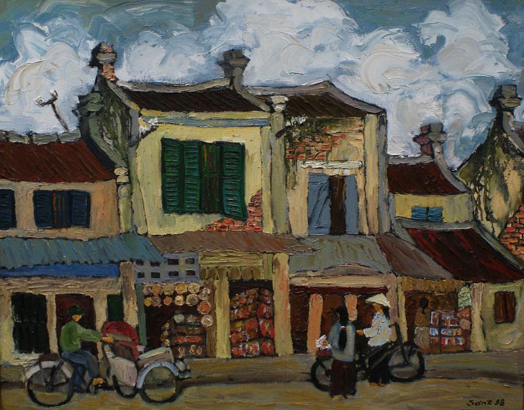 """""""Rue Hang Dao à Hanoi"""" par Duong Ngoc Son - Musée des Beaux Arts de Saigon."""