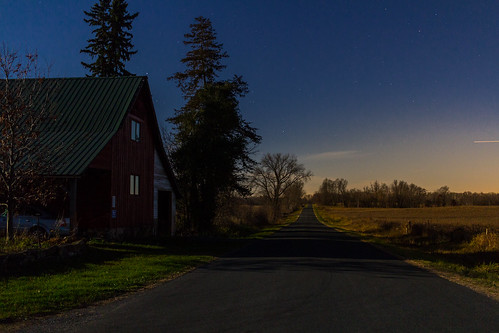 sunset moonlit wisconsin farm farmland stars