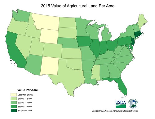 2015 Value of Agricultural Land Per Acre map