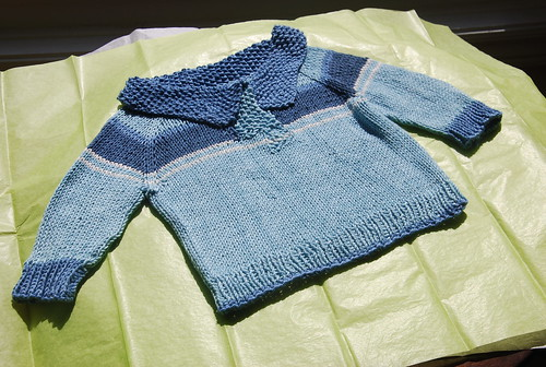 Knitted baby gift Telemark pullover in Sirdar Baby Bamboo