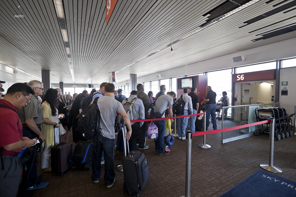 Crowds at the boarding gate