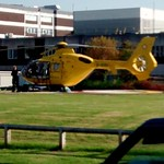 Lancashire Air Ambulance sits on the helipad at Royal Preston Hospital.
