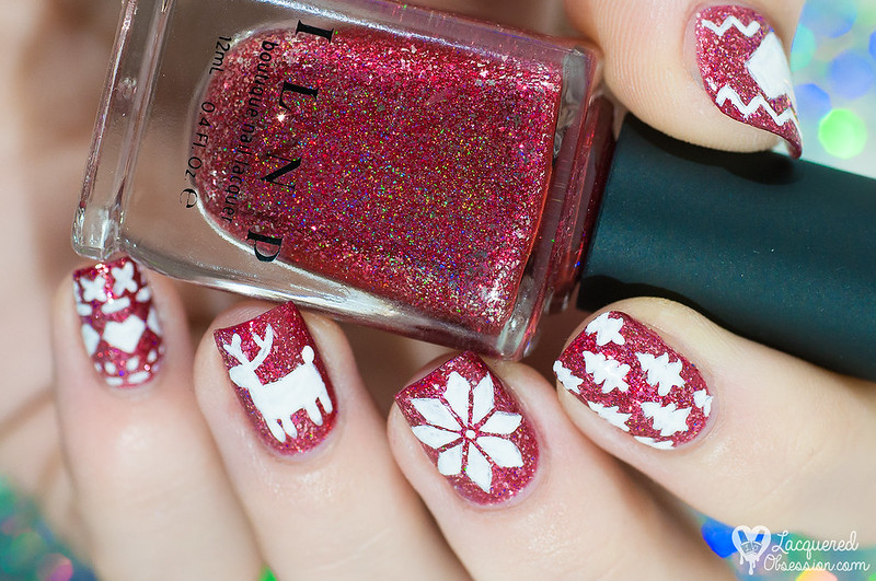 ILNP - Cherry Luxe + Christmas sweater nail art