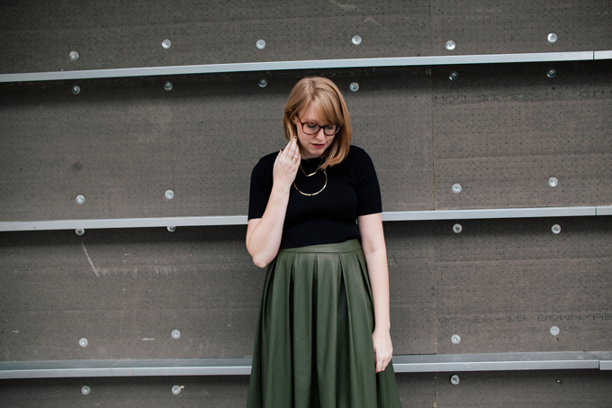 olive leather skirt crop top6