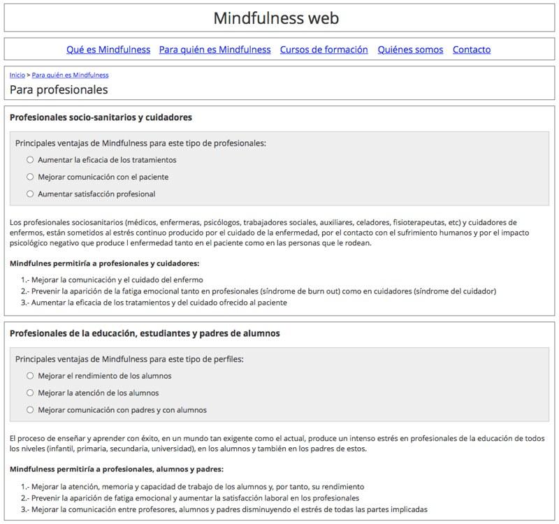Wireframe de la sección Profesionales, de Mindfulness Web