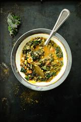 Kale, oats and lentil soup