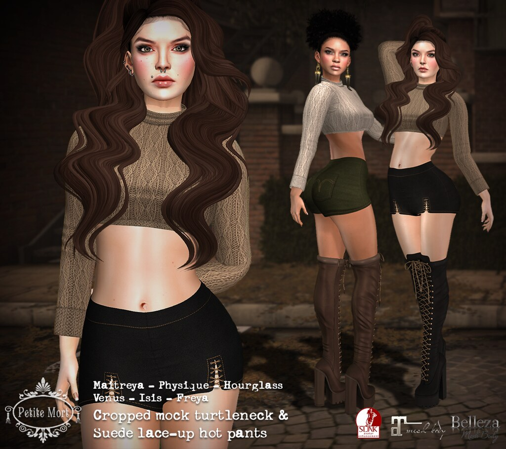 Petite Mort- Cropped mock turtleneck & Suede lace-up hotpants - SecondLifeHub.com