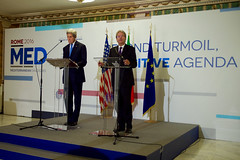U.S. Secretary of State John Kerry and Italian Foreign Minister Paolo Gentiloni address reporters on Mediterranean issues on December 2, 2016, following an Italian-hosted multinational conference about Mediterranean issues at the Parco dei Principe Hotel in Rome, Italy. [State Department photo/ Public Domain]