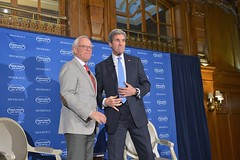 U.S. Secretary of State John Kerry is introduced by Executive Vice President Martin Indyk, at The Brooking Institution's 2016 Saban Forum at the Willard Hotel in Washington, D.C. on December 4, 2016. [State Department Photo/Public Domain]