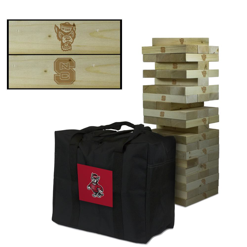 North Carolina State Wolfpack wooden tumble tower game