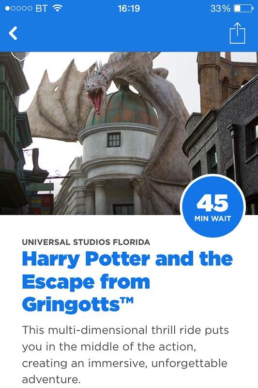Universal Studios Orlando App Attraction Information